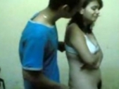 Hot Indian college babe pushed to expose large boobs and hairy pussy by bf