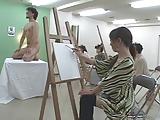 Art class model shows his a big pencil - Misc. Japanese 3