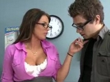 BIG TIT BRUNETTE MILF PORNSTAR TEACHER BLOWS HER STUDENT.