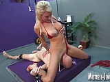 Mistress Alexis uses slave sean for no mercy bondage fuck