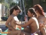 Three Horny Lesbians Playing With Two Long Black Dildos
