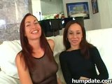 Two hot babes share one big cock