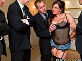 Big-tit Pornstar Tory Lane is double-penetrated in anal gang-bang