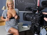 Young horny big-tit blonde teen schoolgirl slut fucks her teacher