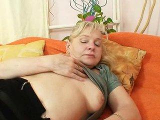 Hairy pussy grandma in stockings kinky dildo fuck